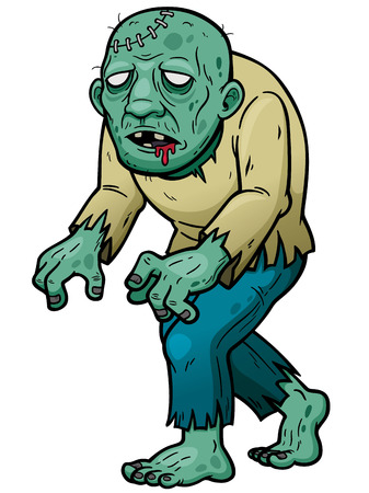 Vector illustration of Cartoon zombie Çizim