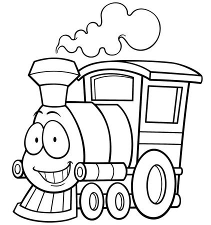 Vector illustration of cartoon train - Coloring book