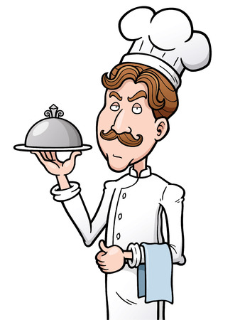 preparing food: Vector illustration of Cartoon chef