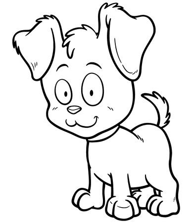 Vector illustration of Cartoon Dog - Coloring book Illustration