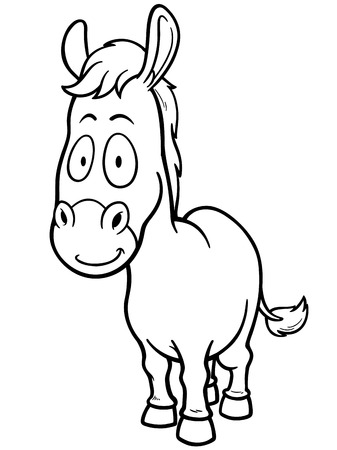 animal idiot: Vector illustration of Cartoon burro - Coloring book Illustration