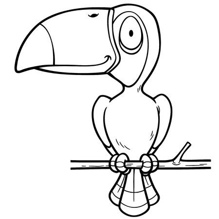 hornbill: Vector Illustration of Cartoon Hornbill - Coloring book