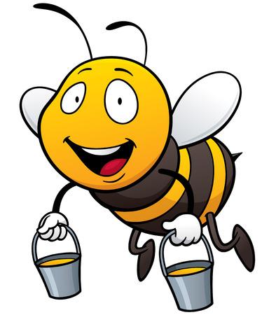 abeja reina: Ilustración vectorial de abeja de dibujos animados con cuchara de miel