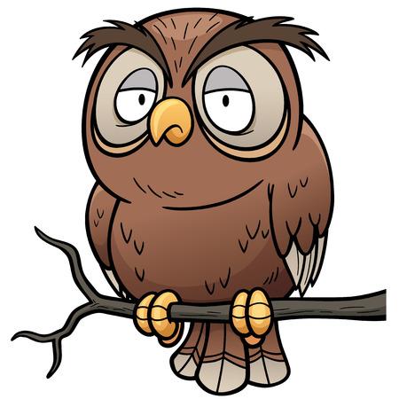 owl cartoon: Vector illustration of Cartoon owl sitting on tree branch