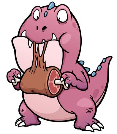 dinosauro: Illustrazione vettoriale di Cartoon Dinosaur mangiare Vettoriali