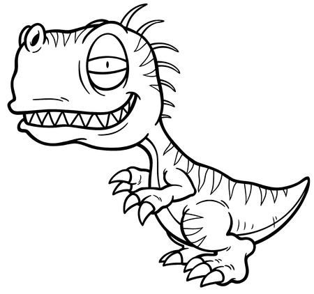 trex: Vector illustration of cartoon dinosaur - Coloring book