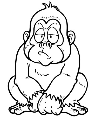 devious: Vector illustration of Gorilla Cartoon - Coloring book Illustration