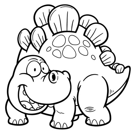 prehistory: Vector illustration of Dinosaurs cartoon - Coloring book