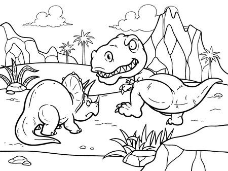 tyrannosaur: Vector illustration of Dinosaurs cartoon fighting - Coloring book