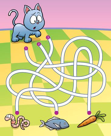 laberinto: Ilustraci�n vectorial de Educaci�n Maze Game Gato con alimentos