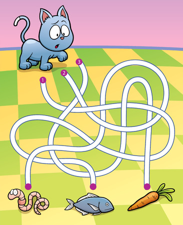cute cat cartoon: Vector Illustration of Education Maze Game Cat with food Illustration