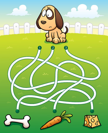 vektor: Vector Illustration of Education Labyrinth-Spiel Dog mit Lebensmitteln