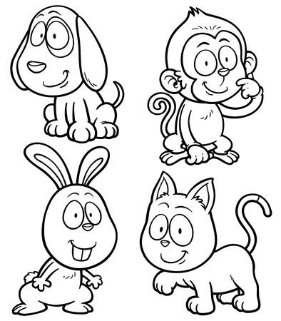 Vector illustration of cartoon animal set - Coloring book Illustration