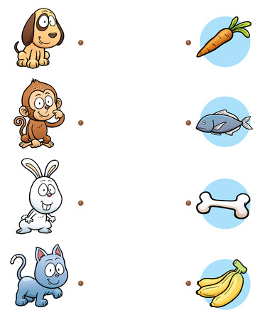 kitty: Vector Illustration of  make the right choice and connect the dots animal with their food Illustration