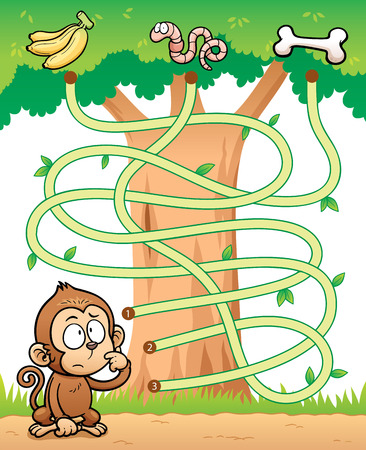 Ilustración vectorial de Educación Maze mono Juego con alimentos