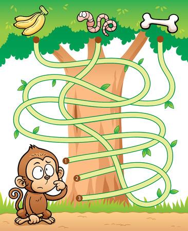laberinto: Ilustración vectorial de Educación Maze mono Juego con alimentos