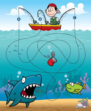 pesca: Ilustración vectorial Juego Educación Pescador Laberinto de
