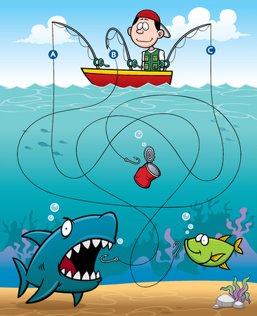 brain puzzle: Vector Illustration of Education Fisherman Maze Game Illustration