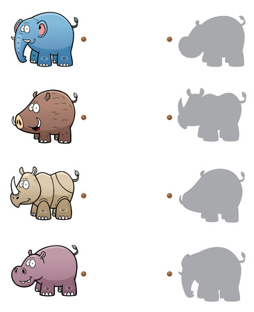 hippopotamus: Vector Illustration of make the right choice and connect shadow matching Illustration