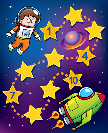 Vector Illustration of Education Numbers game Astronaut to spaceship Vettoriali