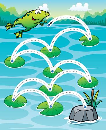 rana: Ilustración vectorial Educación rana salto de - línea de puntos Vectores