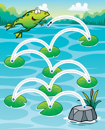 fun game: Vector Illustration of Education Frog jump - Line dot