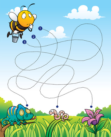 Vector Illustration of Education Maze Game Bee with flower Çizim