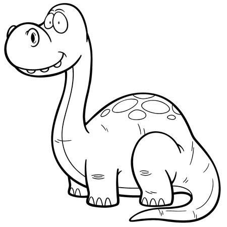 dinosauro: Illustrazione vettoriale di Dinosaur cartoon - Libro di coloritura Vettoriali