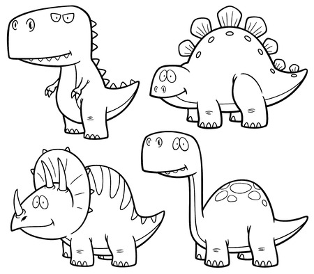 tyrannosaur: Vector illustration of Dinosaurs cartoon characters - Coloring book Illustration