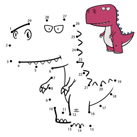 dinosaurio caricatura: Ilustraci�n vectorial Educaci�n N�meros juego dinosaurio de Vectores