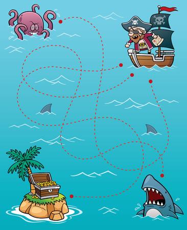mapa del tesoro: Ilustración vectorial Juego Educación pirata Laberinto de
