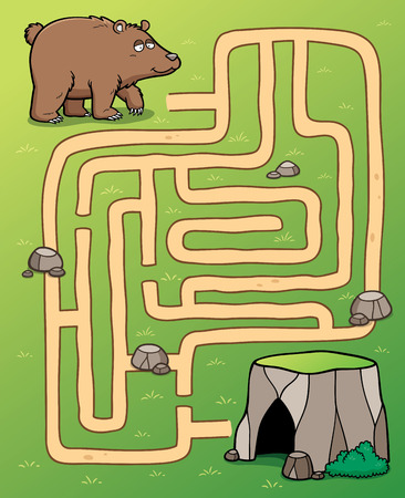 Vector Illustration of Education Maze Game bear to cave Stock Illustratie