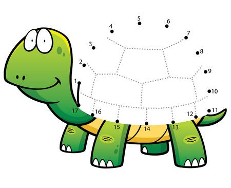 tortuga caricatura: Ilustración vectorial Educación Números juego de la tortuga de puntos de