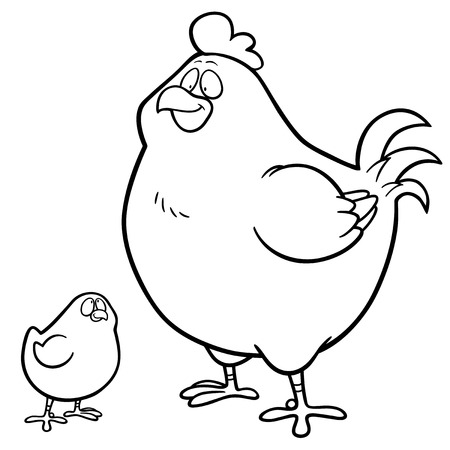 female animal: Vector illustration of Hen and chick - Coloring book