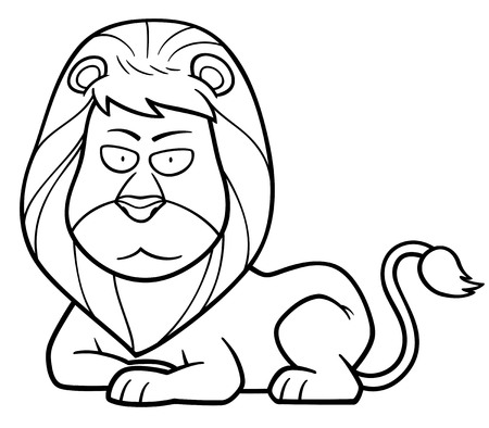 lion vector: Vector illustration of Lion cartoon - Coloring book Illustration