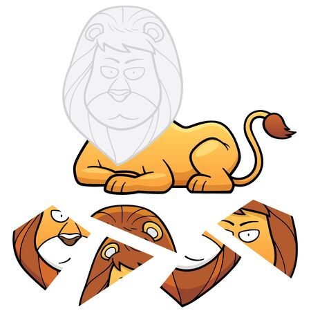 lion drawing: Vector Illustration of Education Jigsaw Puzzle Game for Children with lion