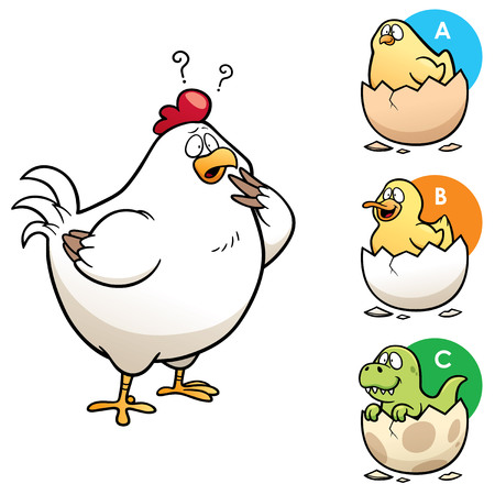 right choice: Vector Illustration of Education game make the right choice Hen to chick