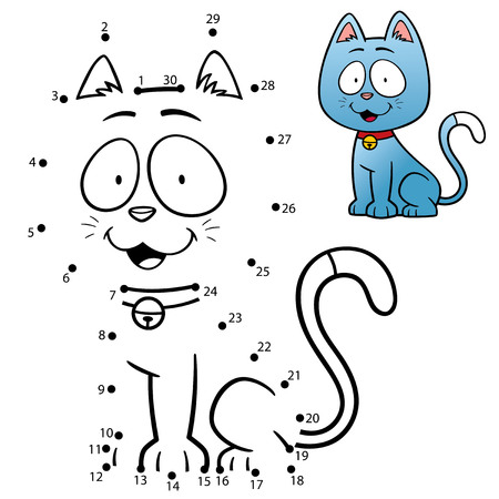 nombres: Illustration Vecteur de l'éducation Numéros jeu du chat de dot Illustration