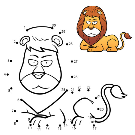 lijntekening: Vector Illustratie van Onderwijs nummers spel de stip leeuw