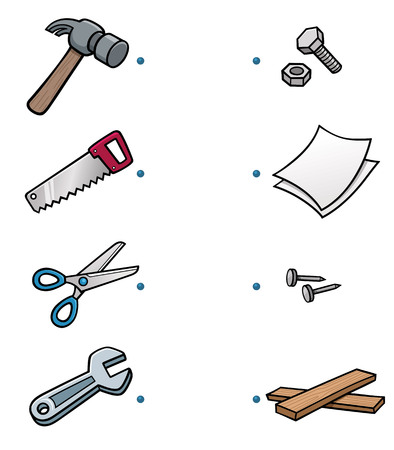 hammers: Vector Illustration of make the right choice and connect the dots