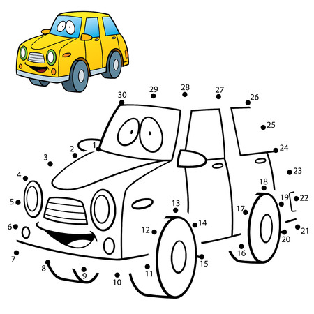 Vector Illustration of Education dot to dot game - Car Ilustração