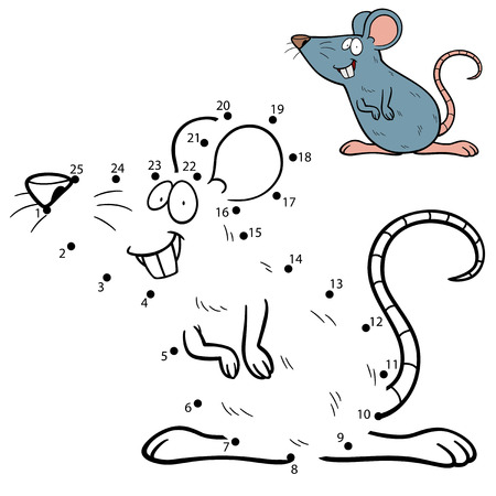 mouse animal: Vector Illustration of Education dot to dot game - Rat