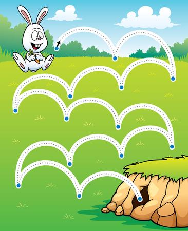conejo: Ilustraci�n vectorial Educaci�n juego Conejo salto de - l�nea de puntos