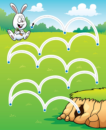 book pages: Vector Illustration of Education game Rabbit jump - Line dot