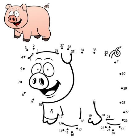 cerdos: Ilustración de Educación Punto para puntear el juego - cerdo