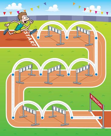 runing:  Illustration of Education game hurdler - Line dot