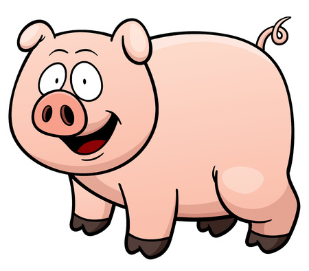 illustration of cartoon pig Çizim