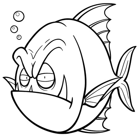slit: Vector illustration of angry fish cartoon - Coloring book Illustration