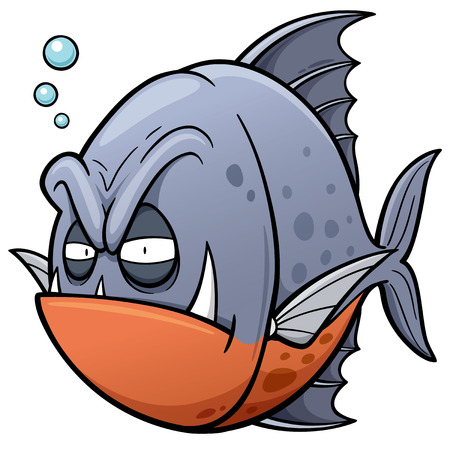 angry cartoon: Vector illustration of angry fish cartoon