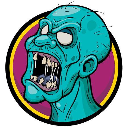 Vector illustration of Cartoon Zombie face